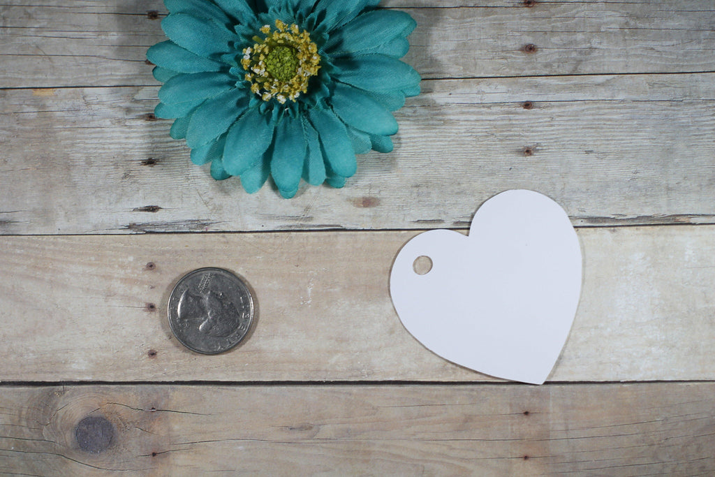 Personalized Wedding Tags - Heart Shape - With Love - White - 20pc-Wedding Tags-The Paper Medley