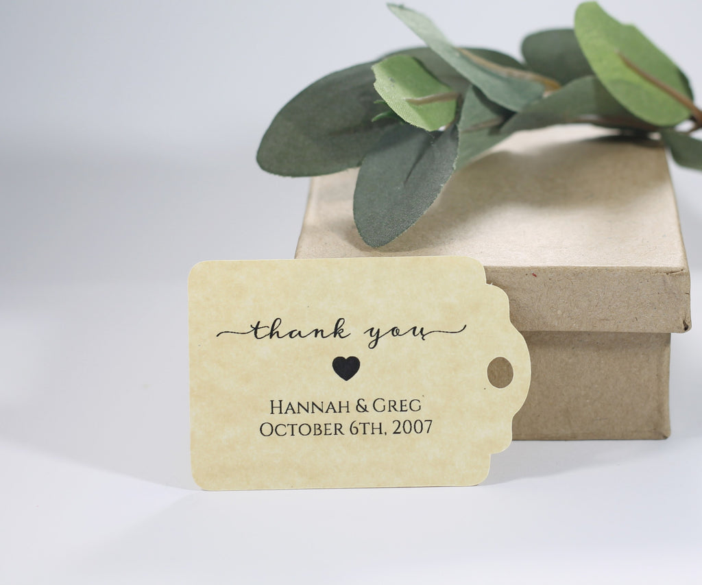 Personalized Wedding Tags - Thank You - Antique Gold- 20pc-Wedding Tags-The Paper Medley