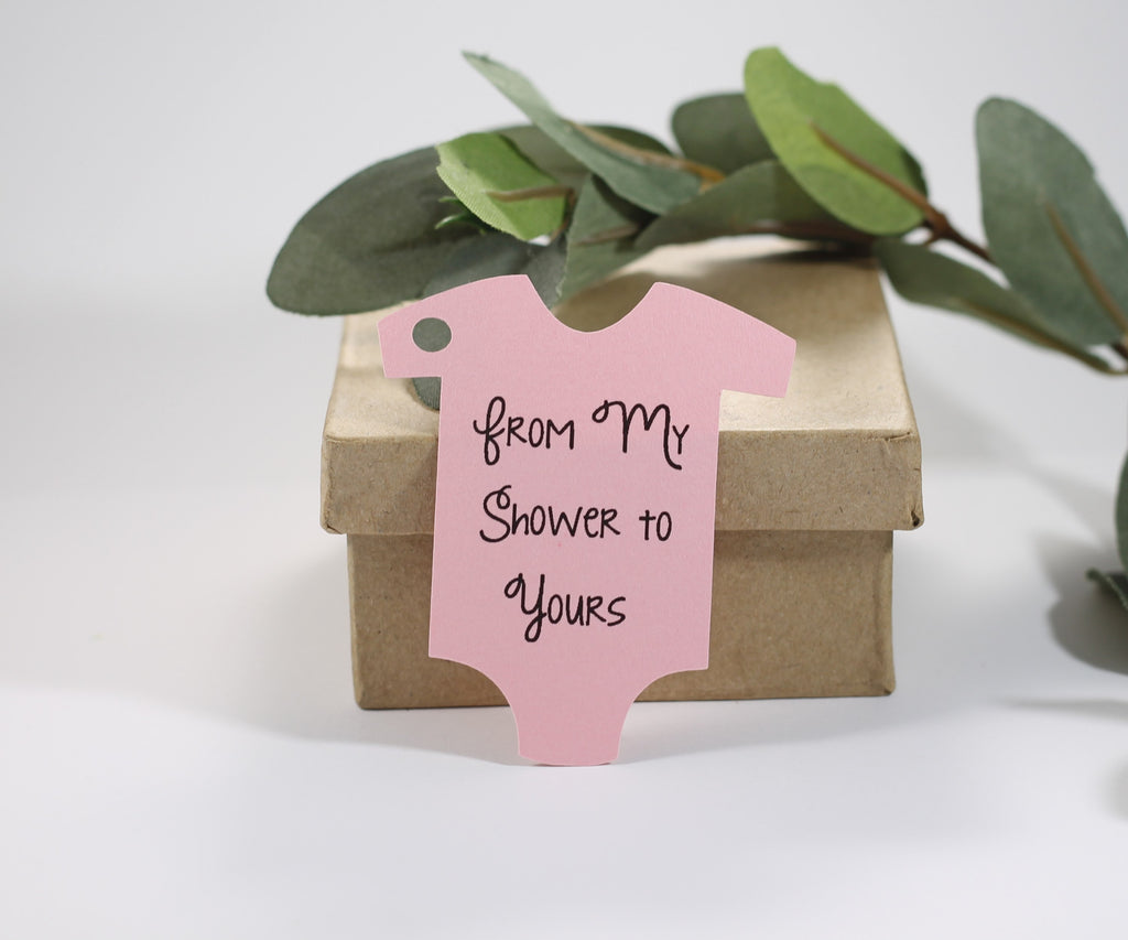Baby Shower Tags - Light Pink - From My Shower to Yours Set of 20-Baby Shower Tags-The Paper Medley