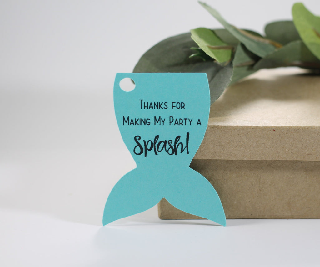 Mermaid Tail Party Tags - Thanks for Making My Party a Splash - Aqua - 20pc-Party Tags-The Paper Medley