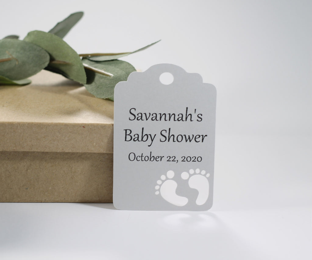 Baby Shower Tags - Custom Grey - 20pc-Baby Shower Tags-The Paper Medley