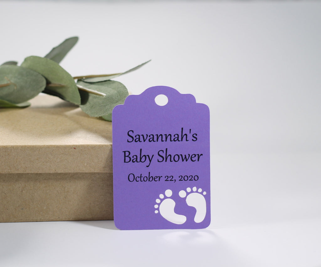 Custom Baby Shower Tags with Feet - Purple - 20pc