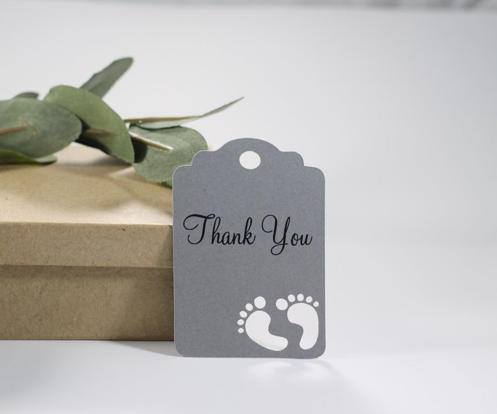 Baby Shower Tags with Feet - Thank You - Grey - 20pc-Baby Shower Tags-The Paper Medley