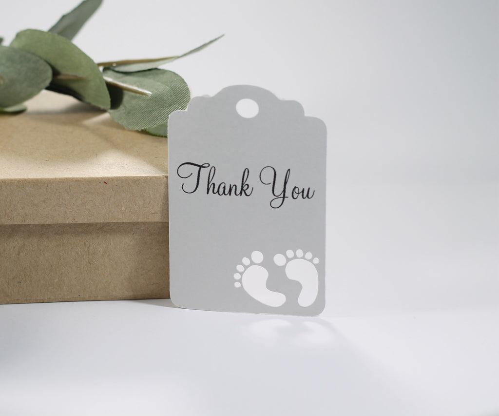 Baby Shower Tags - Light Grey Baby Shower Thank You Tags - 20pc-Baby Shower Tags-The Paper Medley