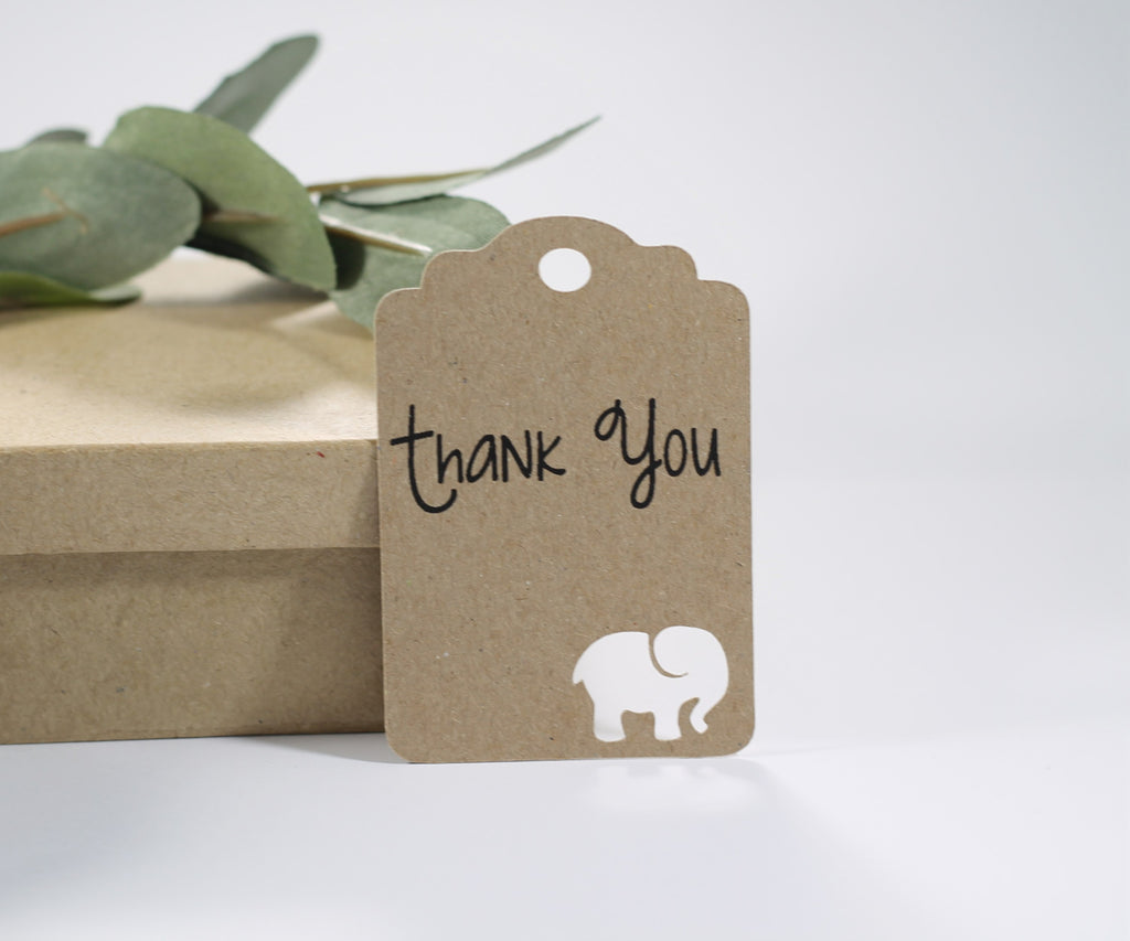 Baby Shower Tags with Elephant - Kraft Brown Elephant Baby Shower Thank You Tags - 20pc-Baby Shower Tags-The Paper Medley