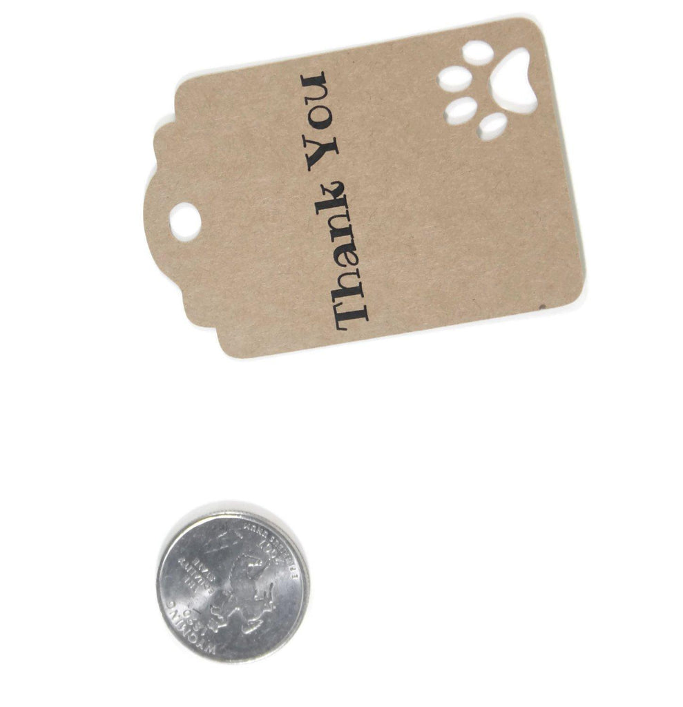 Party Gift Tags with Paw Print - Thank You - Kraft Brown - 20pc-Party Tags-The Paper Medley