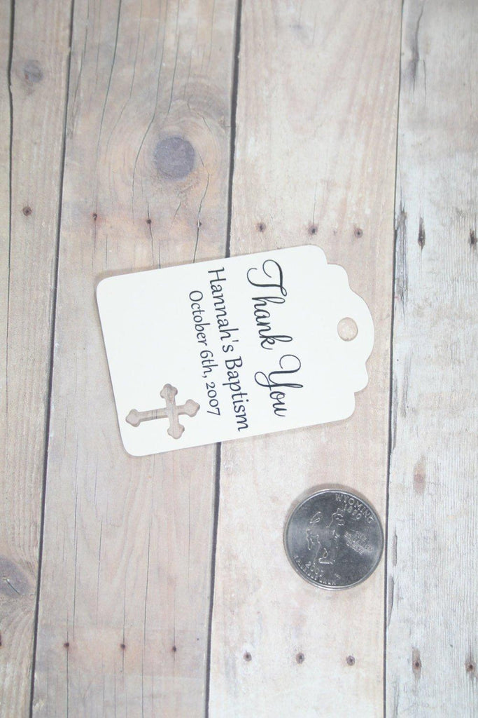 Custom Baptism Tags - Thank You - Cream - 20pc-Baptism Favor Tags-The Paper Medley