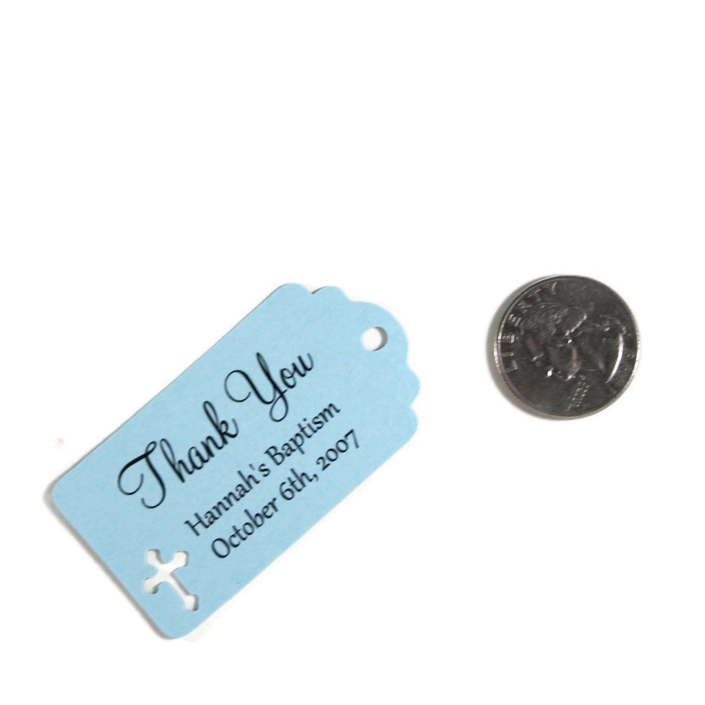 Light Blue Baptism Thank You Favors Set of 20 - The Paper Medley