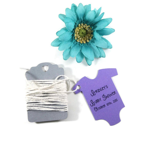 Personalized Purple Baby One Piece Shower Tags (Set of 20) | The Paper Medley - The Paper Medley