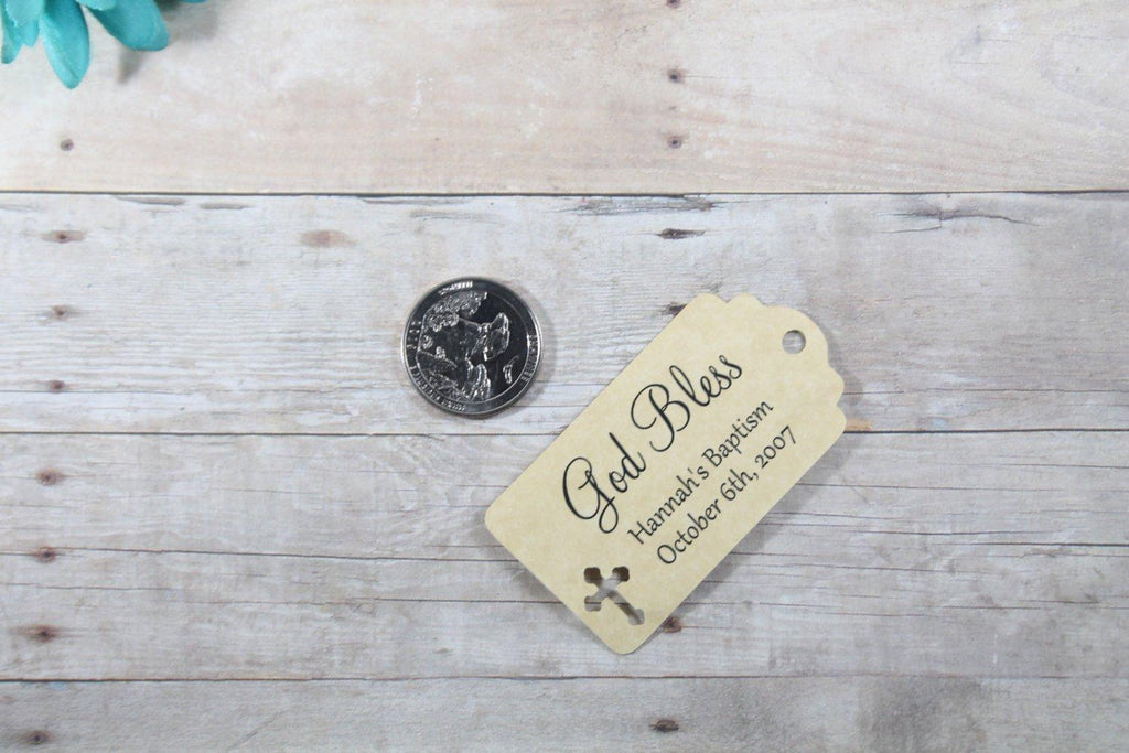 Small Baptism Tags - God Bless - Antique Gold - 20pc-Baptism Favor Tags-The Paper Medley