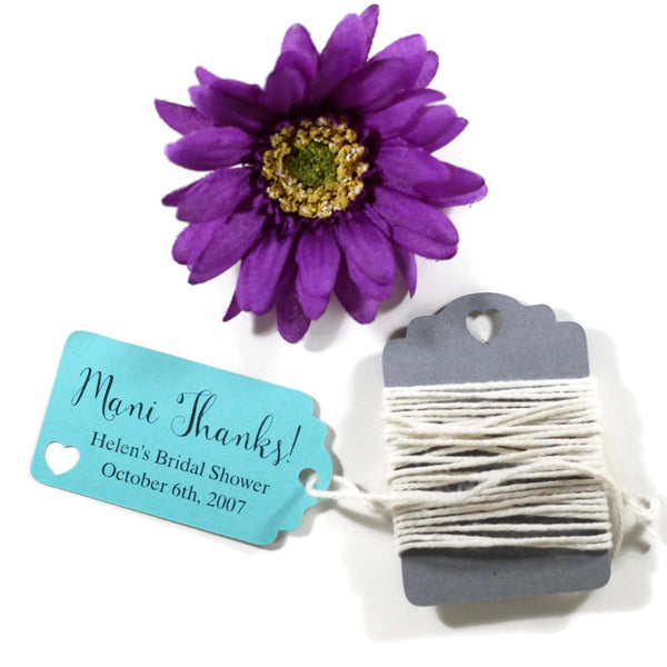 Small Aqua Bridal Shower Favors - Mani Thanks Set of 20 | The Paper Medley - The Paper Medley