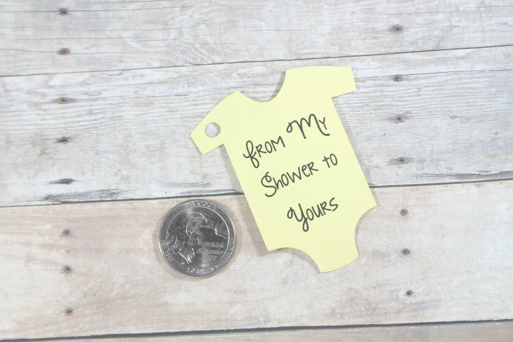 Baby Shower Tags - From My Shower To Yours Tags in Yellow Set of 20-Baby Shower Tags-The Paper Medley