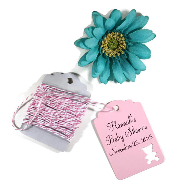 Custom Pink Bear Themed Shower Tags Set of 20 | The Paper Medley - The Paper Medley