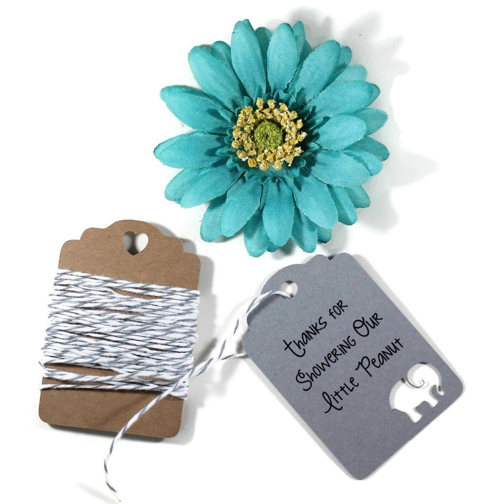 Thanks for Showering Our Little Peanut Grey Elephant Tags Set of 20 - The Paper Medley