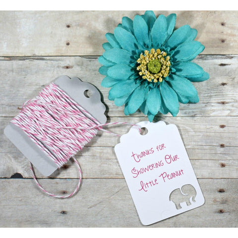 Pink Elephant Baby Shower Tags - Little Peanut - Set of 20 - The Paper Medley