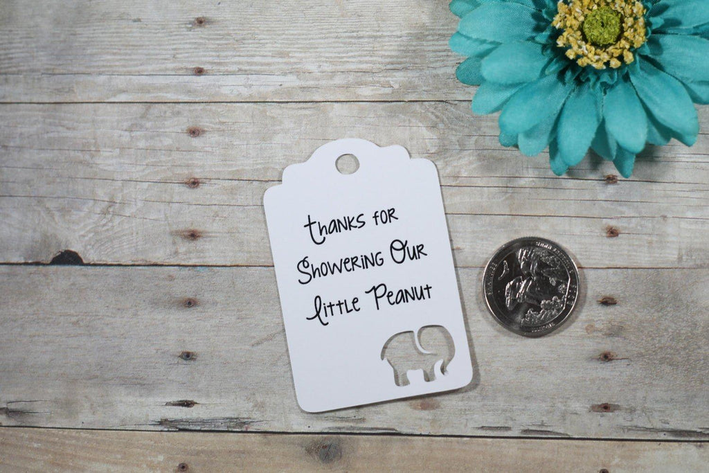 Baby Shower Tags with Elephant - Thanks for Showering Our Little Peanut - White - 20pc-Baby Shower Tags-The Paper Medley