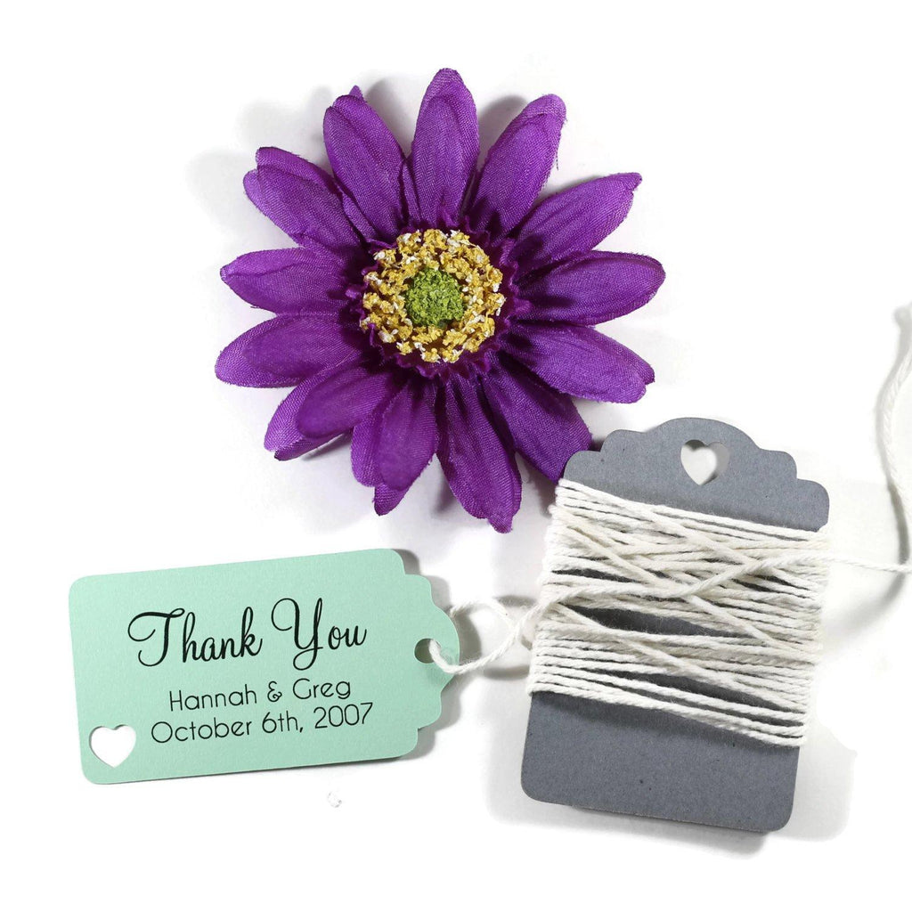 Small Custom Wedding Tags - Thank You - Light Green - 20pc-Wedding Tags-The Paper Medley
