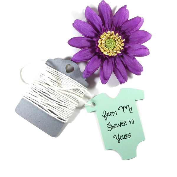 Green Baby Shower Tags From My Shower to Yours in Baby One Piece Shape