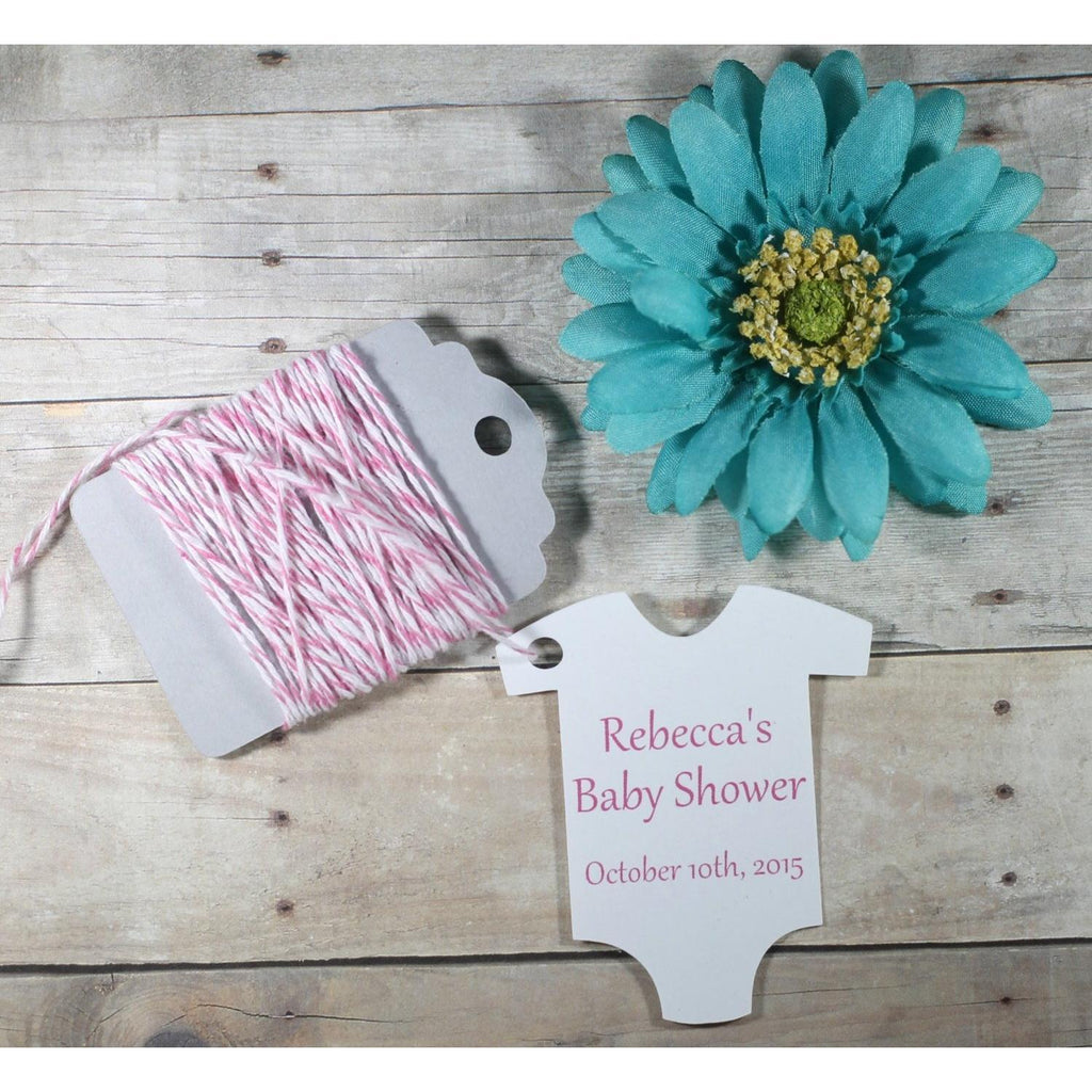 Custom Baby Shower Tags - Girl's Baby Shower Personalized Tags (Set of 20 )-Baby Shower Tags-The Paper Medley