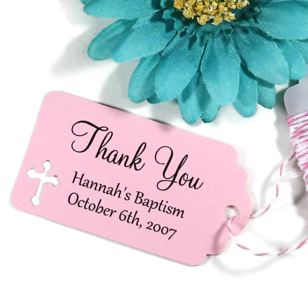 Small Baptism Tags - Thank You - Light Pink - 20pc-Baptism Favor Tags-The Paper Medley