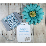 Custom Baby Shower Tags with Elephant - Blue Text - 20pc-Baby Shower Tags-The Paper Medley