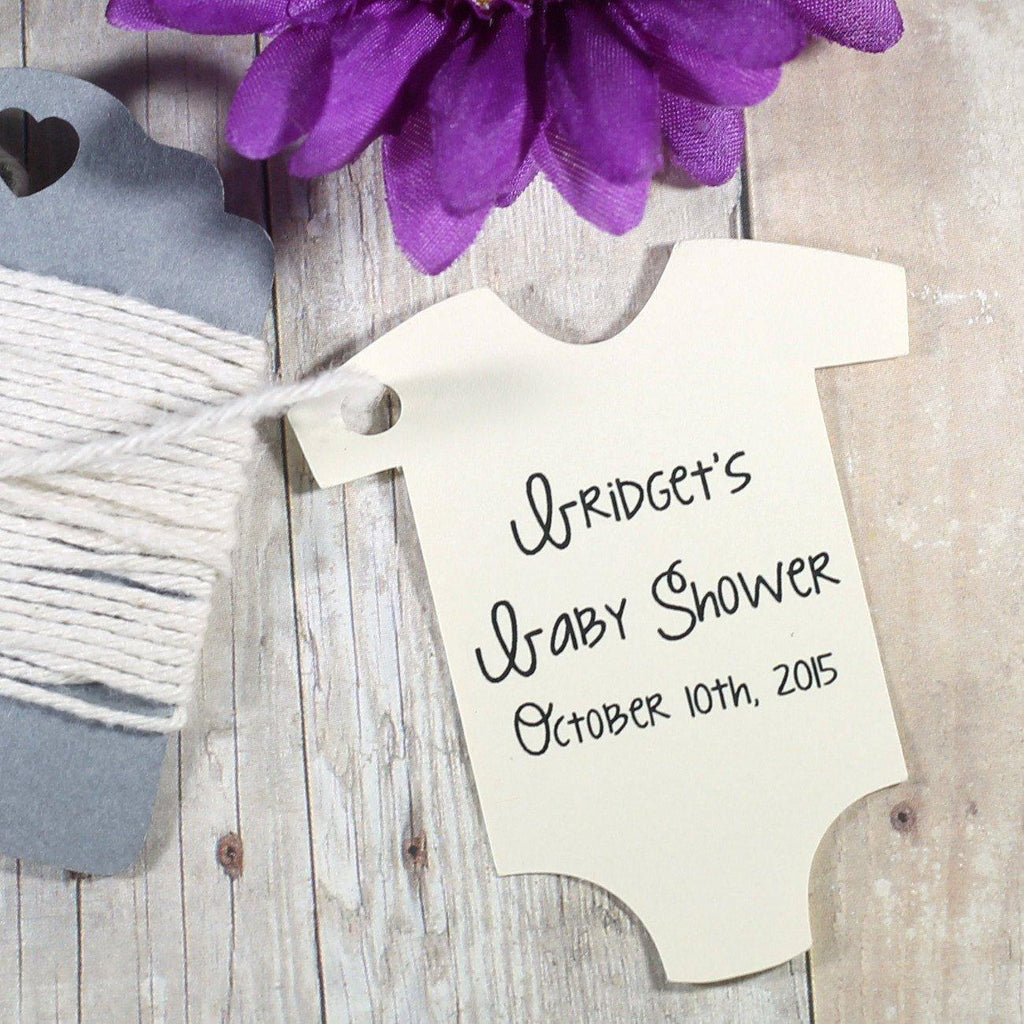 Baby Shower Tags - Custom Cream Shower Tags - 20pc-Baby Shower Tags-The Paper Medley