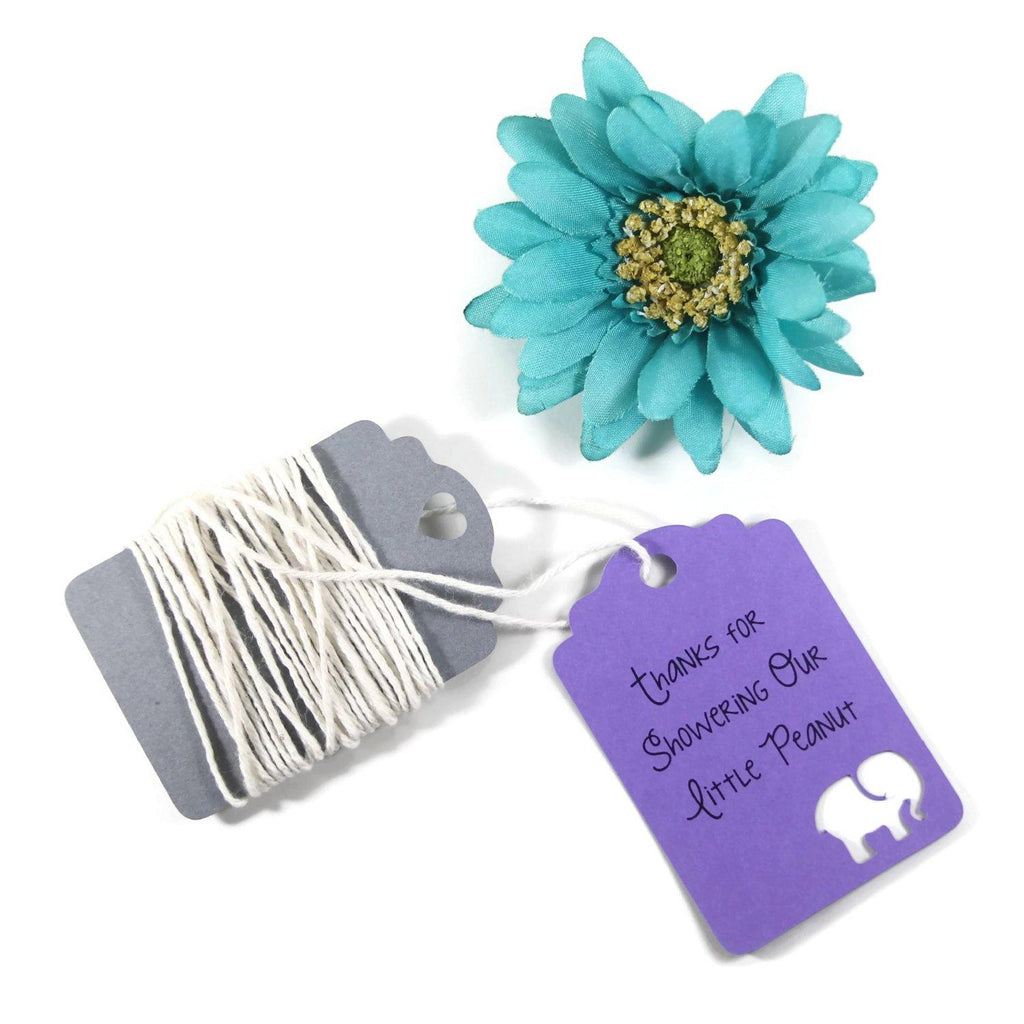 Baby Shower Tags with Elephant - Thanks for Showering Our Little Peanut - Purple - 20pc-Baby Shower Tags-The Paper Medley
