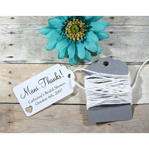 White Bridal Shower Favor Tags with Mani Thanks Set of 20 | The Paper Medley - The Paper Medley