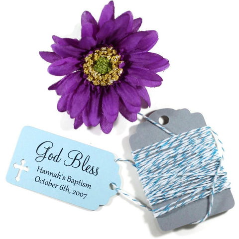 God Bless Baptism Tags in Light Blue