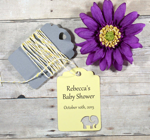 Personalized Yellow Elephant Baby Shower Tags Set of 20 | The Paper Medley - The Paper Medley