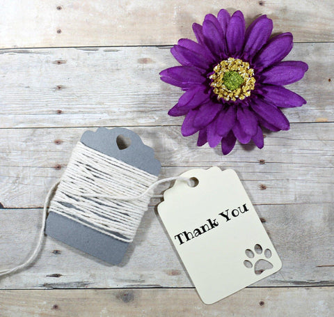 Cream Paw Print Thank You Tags - Animal Themed Party Tags