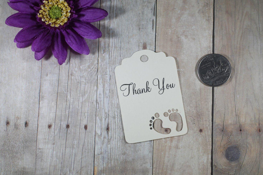Baby Shower Tags with Feet - Thank You - Cream - 20pc-Baby Shower Tags-The Paper Medley