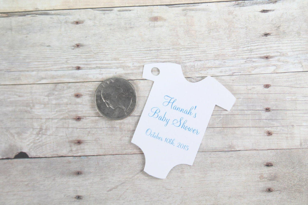 Baby Shower Tags - White and Blue Set of 20-Baby Shower Tags-The Paper Medley