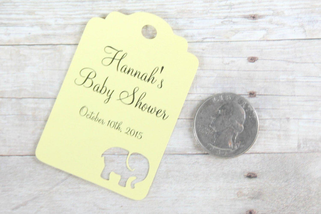 Custom Baby Shower Tags - Customized Yellow Set of 20-Baby Shower Tags-The Paper Medley