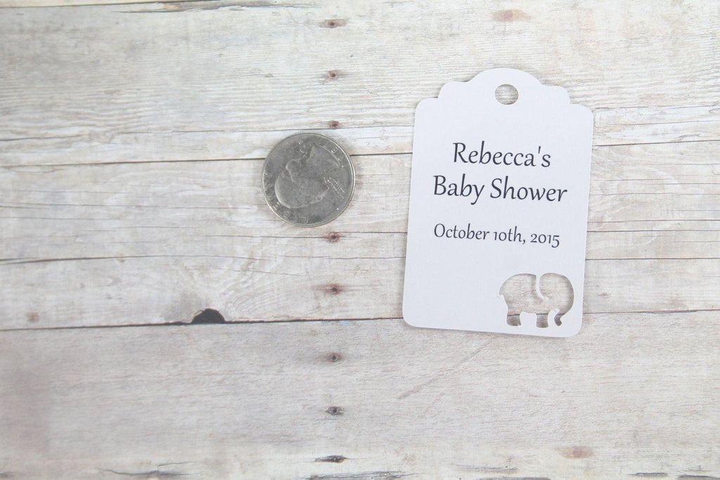 Custom Baby Shower Tags with Elephant - Gabriola - Light Grey - 20pc-Baby Shower Tags-The Paper Medley