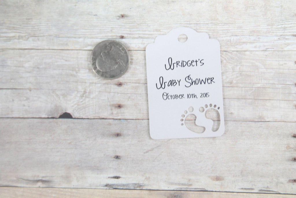 Custom Baby Shower Tags with Feet - Light Grey - 20pc-Baby Shower Tags-The Paper Medley