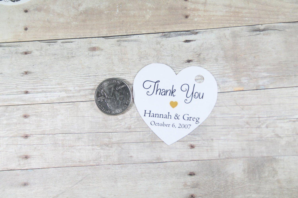 Personalized Wedding Tags - Heart Shape - Thank You - Gold Heart - White - 20pc-Wedding Tags-The Paper Medley