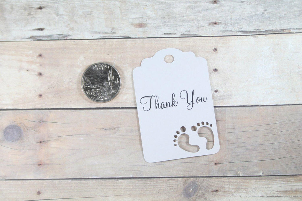 Light Grey Baby Shower Thank You Tags Set of 20 - The Paper Medley
