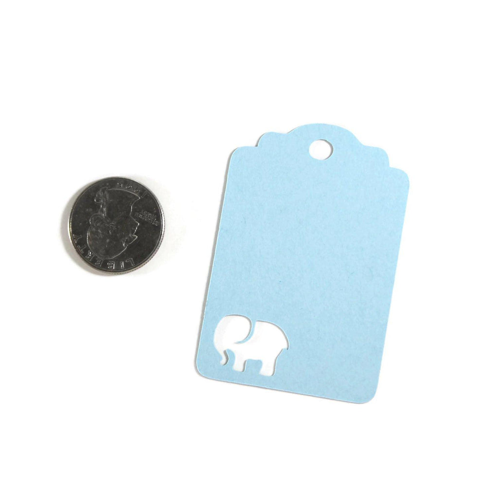 Baby Shower Tags with Elephant - Light Blue Elephant - 20pc-Baby Shower Tags-The Paper Medley