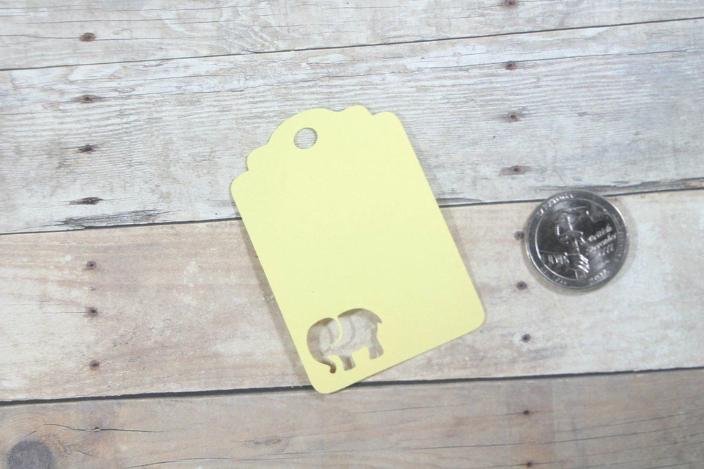 Custom Baby Shower Tags with Elephant - Yellow - 20pc-Baby Shower Tags-The Paper Medley