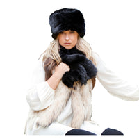 Faux Fur Russian Style Hat & Tippet Scarf - look elegant - Prussian Black