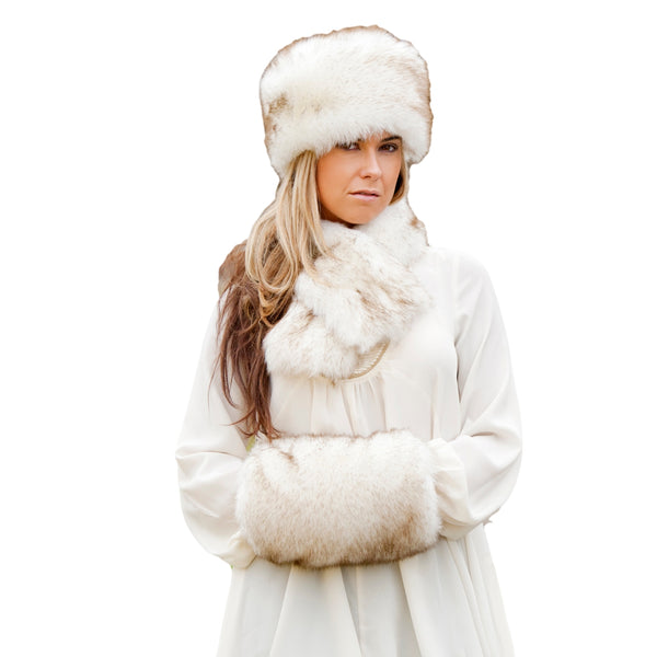 Faux Fur Russian Style Hat, Tippet Scarf & Muff - look elegant - Siberian White