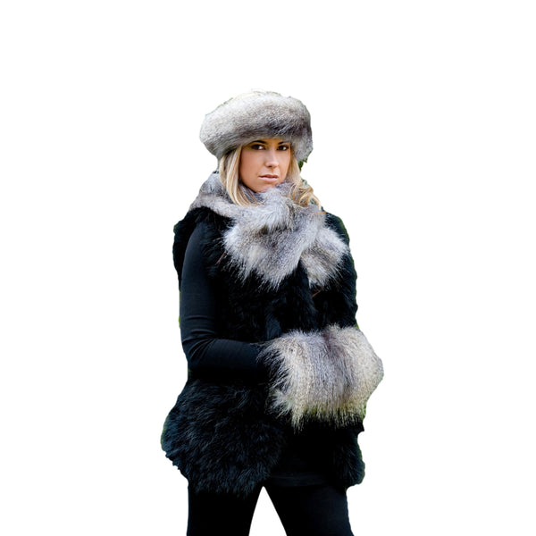 Faux Fur Set -  Headband, Muff & Ruffle Scarf - Grey Wolf