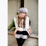 Faux Fur Set - Headband & Boot Toppers - Light Brown Frost