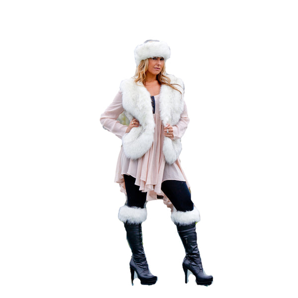 Faux Fur Set - Headband, Gilet & Boot Toppers - Siberian White
