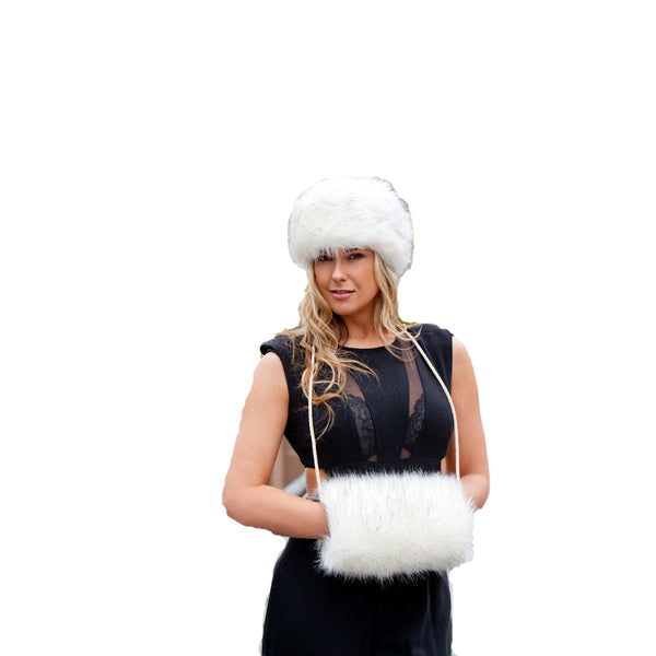 Faux Fur Set - Russian Style Hat & Muff - Siberian White