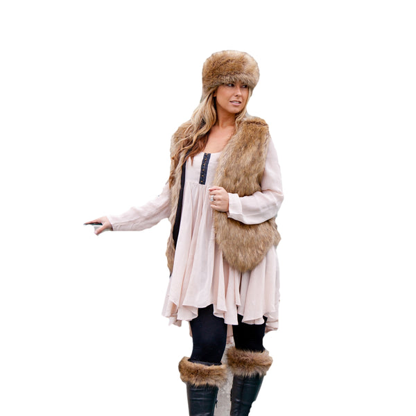 Faux Fur Set - Russian Style Hat, Gilet & Boot Toppers - Tibet Brown
