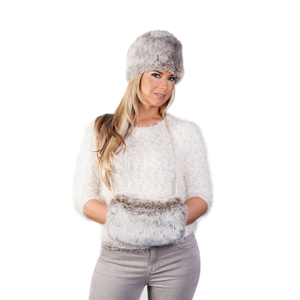 Faux Fur Russian Style Hat & Muff - Light Brown Frost