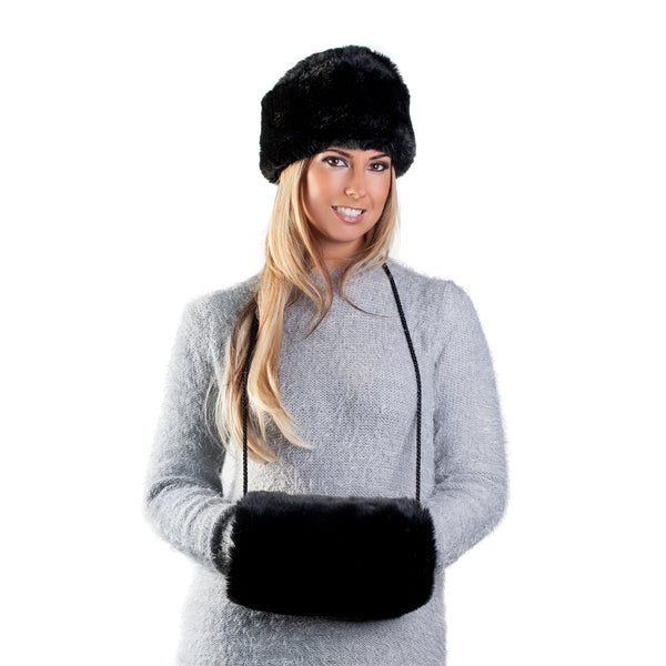 Faux Fur Russian Style Hat & Muff - Prussian Black