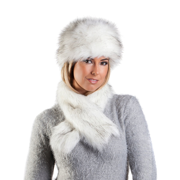 Faux Fur Russian Style Hat & Tippet Scarf - Siberian White